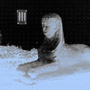Sphinx Statue Three Quarter Profile Blue Glow Usa Art Print