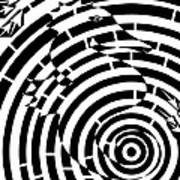 Spin Art Seahorse Maze  Art Print