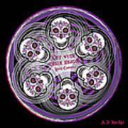 Spinning Celtic Skulls In Purple Art Print