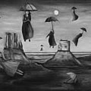 Spirits Of The Flying Umbrellas Bw Art Print