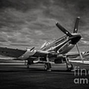 Spitfire In Black And White Art Print