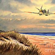 Spitfire Mk9 - Over South Coast England Art Print