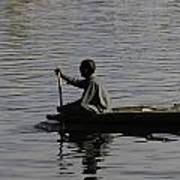 Splashing In The Water Caused Due To Kashmiri Man Rowing A Small Boat Art Print