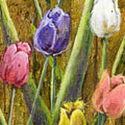 Splashy Tulips II With Gold Leaf By Vic Mastis Art Print by Vic  Mastis