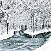 Split Snowy Road Art Print