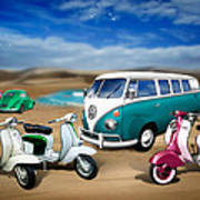 Splitty Vw Beetle And Scooters Art Print