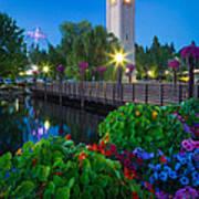Spokane Clocktower By Night Art Print