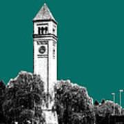Spokane Skyline Clock Tower - Sea Green Art Print