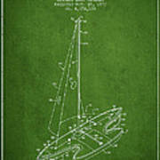 Sport Sailboat Patent From 1977 - Green Art Print