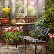 Spring - Bench - A Place To Retire  Art Print by Mike Savad