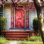 Spring - Door - Westfield Nj - Pink Art Print by Mike Savad