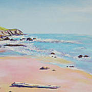 Spring Hills And Seashore At Bowling Ball Beach Art Print