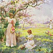 Spring   Picking Flowers Art Print