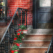 Spring - Porch - Hoboken Nj - Geraniums On Stairs Print by Mike Savad