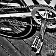 Sprocket And Chain - Black And White Art Print