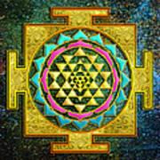 Sri Yantra Gold And Stars Art Print