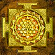 Sri Yantra Gold Stone Art Print