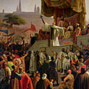 St Bernard Preaching The Second Crusade In Vezelay Art Print