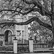 St. Charles Ave. Mansion 2 Bw Art Print