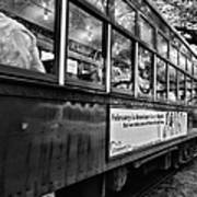 St. Charles Ave Streetcar Whizzes By-black And White Art Print
