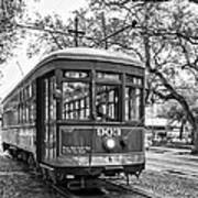 St. Charles Streetcar 2 Bw Art Print