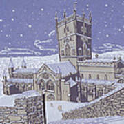 St David S Cathedral In The Snow Art Print by Huw S Parsons