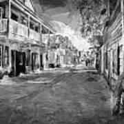 St George Street St Augustine Florida Painted Bw Art Print