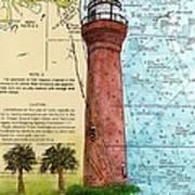 St Johns River Lighthouse Fl Nautical Chart Map Art Cathy Peek Art Print