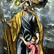 Saint Joseph And The Christ Child Art Print