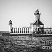 St. Joseph Lighthouses Black And White Picture  Art Print