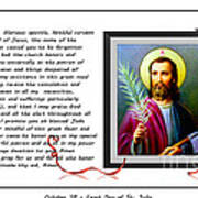 St. Jude Patron Of Hopeless Cases - Prayer - Petition Art Print by Barbara Griffin