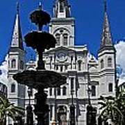 St Louis Cathedral Fountain Art Print