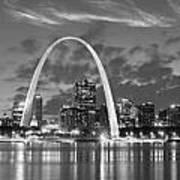 St. Louis Skyline At Dusk Gateway Arch Black And White Bw Panorama Missouri Art Print
