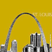 St Louis Skyline Gateway Arch - Gold Art Print