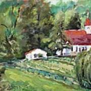St. Lukes Church And Jefferson Vineyards In Charlottesville Va Art Print