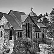 St Malo Chapel On The Rock Colorado Bw Art Print