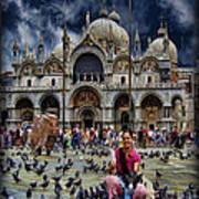 St Mark's Basilica - Feeding The Pigeons Art Print