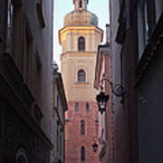 St. Martin's Church Bell Tower In Warsaw Art Print