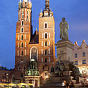 St Mary Basilica And Adam Mickiewicz Monument At Night In Krakow Art Print
