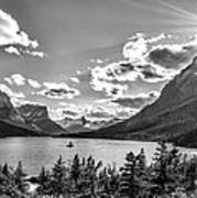 St. Mary Lake Bw Art Print