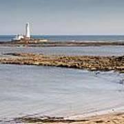 St Marys Lighthouse Across Sandy Bay Art Print