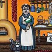 St. Pascual Making Bread Print by Victoria De Almeida