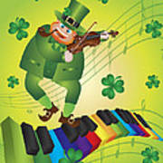 St Patricks Day Leprechaun Dancing On Piano Keyboard Art Print