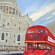St. Paul Cathedral And London Bus Art Print