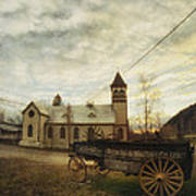 St. Pauls Anglican Church With Wagon  Art Print
