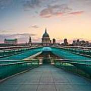 St. Paul's Cathedral And Millennium Bridge In London Art Print