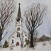 St. Pauls Church In Barton Vt In Winter Art Print