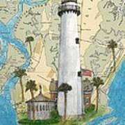 St Simons Lighthouse Ga Nautical Chart Map Art Cathy Peek Art Print