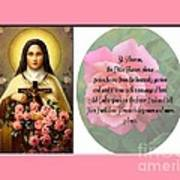 St. Theresa Prayer With Pink Border Art Print