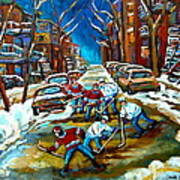 St Urbain Street Boys Playing Hockey Art Print